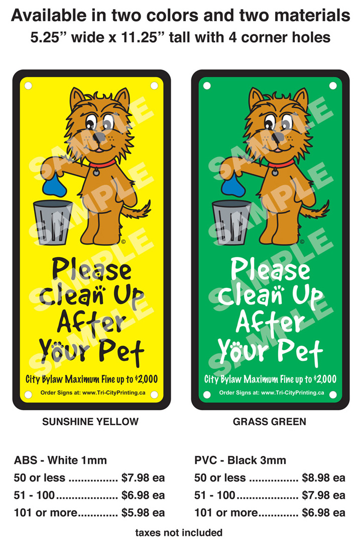Doddy Sign - Clean up after your dog signs